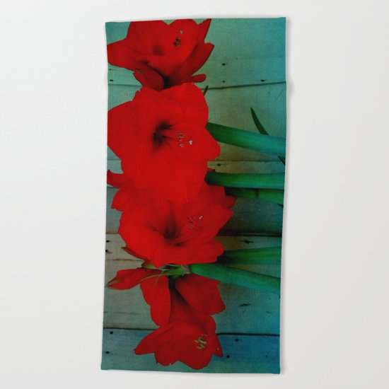 Red Lily Beach Towel