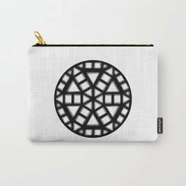 Single Black and White Pinwheel, Minimal Mandala, Medallion Carry-All Pouch