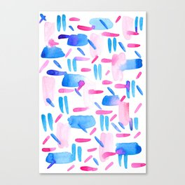 Blue Pink Diagonal Plaid Canvas Print