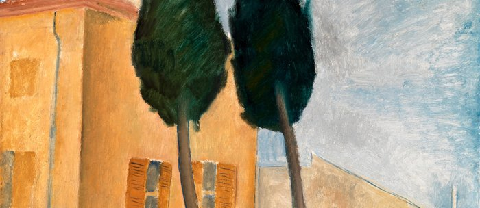 """Amedeo Modigliani """"Cypresses and Houses at Cagnes (Cyprès et maisons à Cagnes)"""" Coffee Mug"""