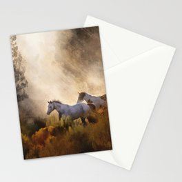 Horses in a Golden Meadow by Georgia M Baker Stationery Cards