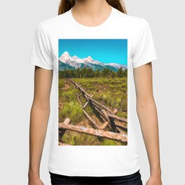 Grand Teton National Park Fence Print T-shirt