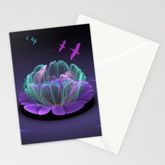 Water lily in a purple pond Stationery Cards