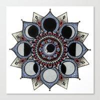 moon phase Canvas Prints featuring Moon Phase Mandala by Paula Savage