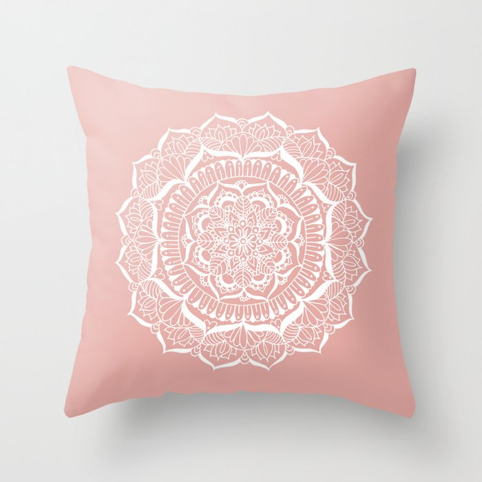 White Flower Mandala on Rose Gold Throw Pillow