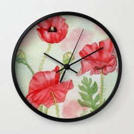 Watercolor Poppy Field Painting Wall Clock
