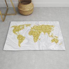 Gold Glitter World Map on White Marble Rug