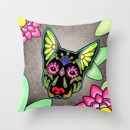 German Shepherd in Black - Day of the Dead Sugar Skull Dog Throw Pillow