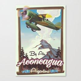 Aconcagua -Argentina vintage flight poster print. Canvas Print