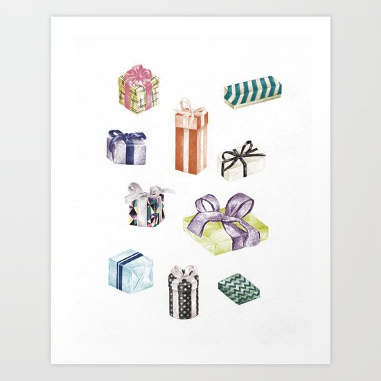 Birthday Presents Colour by Chrissy Curtin Art Print