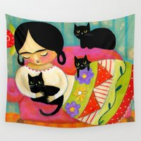 sofa Wall Tapestries featuring Frida with black cats on sofa by tascha
