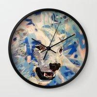 polar bear Wall Clocks featuring Polar Bear by Michael Hammond