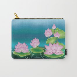 Lotus Flower with Leaves Carry-All Pouch