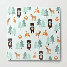 Animals in the winter - pattern #society6 Metal Print