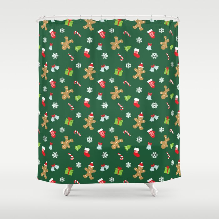 a57679f9a7d5 Merry christmas and happy new year socks, snowflakes, candies and  Gingerbread Man holiday pattern Shower Curtain