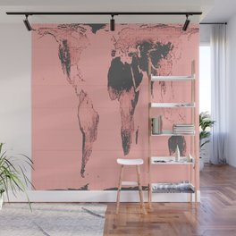 World Map: Gall Peters Pink Wall Mural