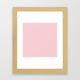 Mini White Love Hearts on Millennial Pink Pastel Framed Art Print