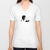 girls V-neck T-shirts featuring GIRLS by DRAWDEALER
