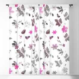Pink Flowers & Gray Roses Blackout Curtain
