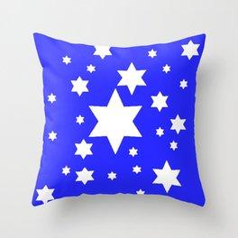 WHITE STARS ON BLUE DESIGN ART Throw Pillow