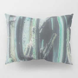 closeup green cactus with old vintage wood background Pillow Sham