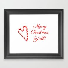 Merry Christmas Y'all Candy Cane Framed Art Print