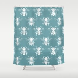 The Bee's Knees Teal Shower Curtain
