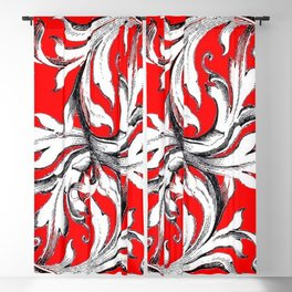 RED & WHITE BAROQUE FLORAL ART Blackout Curtain