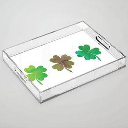 Lucky Watercolor Clovers Acrylic Tray