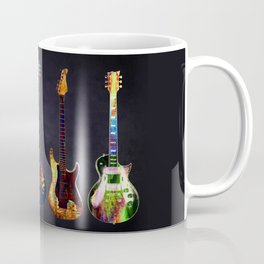 Sounds of music. Five colorful guitars. Coffee Mug