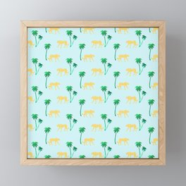 Animal Print Yellow Cheetah under Green Palm Trees on Muted Blue Background Framed Mini Art Print