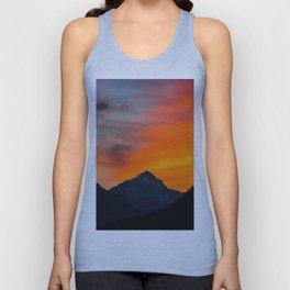 Stunning vibrant sunset behind mountain Unisex Tank Top