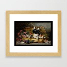 cute kitten 2- Leon Huber - A basket full of cat - pet,whikers,cat,kitty,kitten Framed Art Print