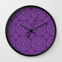 Violet indian mandala Wall Clock