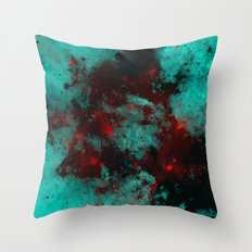 Ruby Galaxy - Abstract cyan, red and black space themed painting Throw Pillow