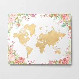 Bohemian world map with watercolor flowers Metal Print