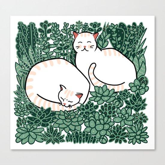 Cats in a succulent garden Canvas Print