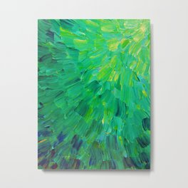 SEA SCALES in GREEN - Bright Green Ocean Waves Beach Mermaid Fins Scales Abstract Acrylic Painting Metal Print