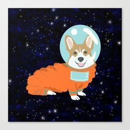 Corgi spacedog astronaut outer space red corgis dog portrait gifts Canvas Print