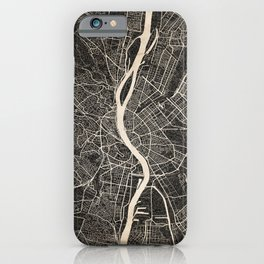 budapest map ink lines 2 iPhone Case