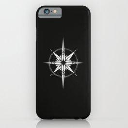 Compass Rose Illustration | White on Black iPhone Case