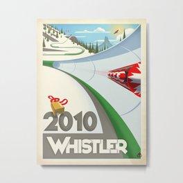 "Minimalist Whistler ""Olympic Boblsed"" Travel Poster Metal Print"