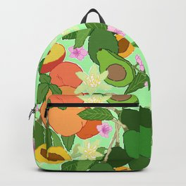 Avocado + Peach Stone Fruit Floral in Mint Green Backpack