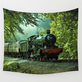 Vintage Train on Railroad in Country Landscape Wall Tapestry
