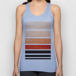 Burnt Sienna Minimalist Mid Century Modern Color Fields Ombre Watercolor Staggered Squares Unisex Tank Top