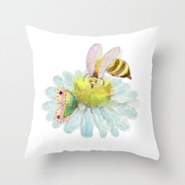 Coexisting on a Blue Flower -Bee Butterfly Throw Pillow