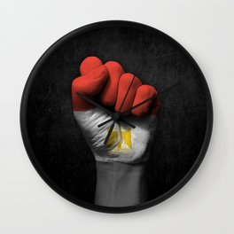 Egyptian Flag on a Raised Clenched Fist Wall Clock