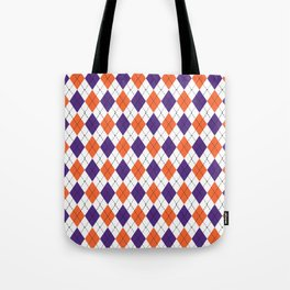 Argyle orange and purple pattern clemson football college university alumni varsity team fan Tote Bag
