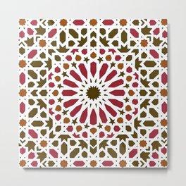 -A1- Red Traditional Moroccan Zellij Artwork. Metal Print