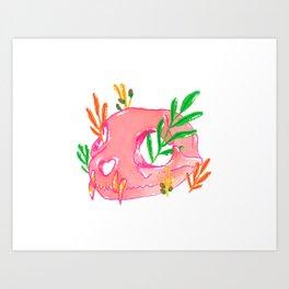 Pink Animal Skull and Foliage Art Print